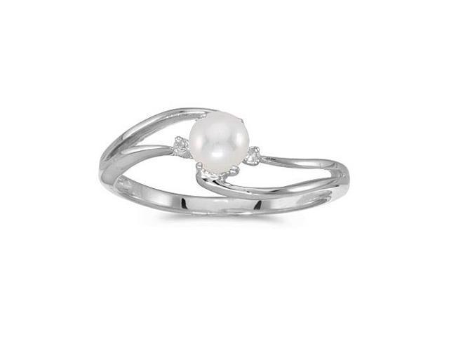 14k White Gold Freshwater Cultured Pearl And Diamond Wave Ring (Size 7.5)