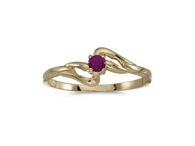 14k Yellow Gold Round Ruby Ring (Size 5.5)