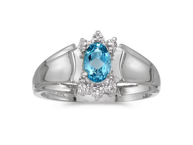 14k White Gold Oval Blue Topaz And Diamond Ring (Size 5)