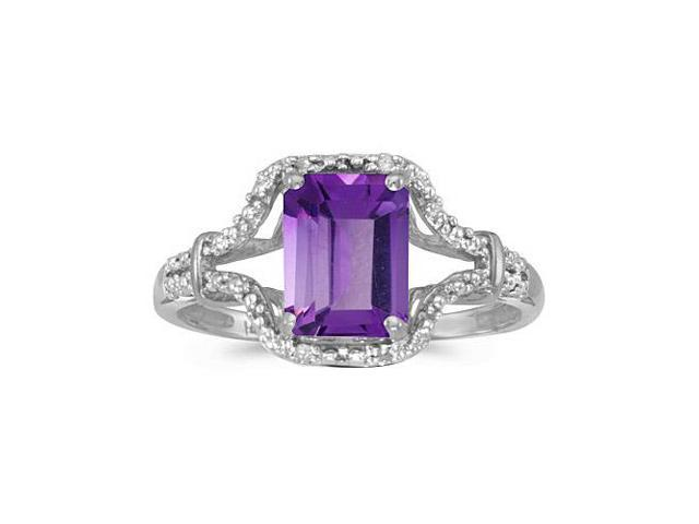 10k White Gold Emerald-cut Amethyst And Diamond Ring (Size 4.5)
