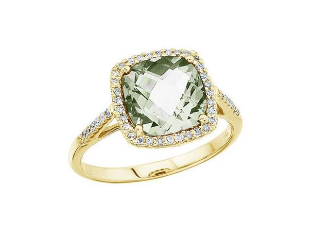 14K Yellow Gold 8 mm Cushion Green Amethyst and Diamond Ring (Size 9.5)