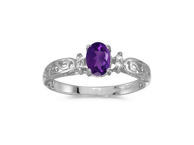10k White Gold Oval Amethyst And Diamond Ring (Size 5.5)