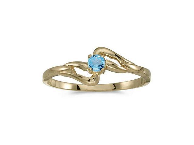 10k Yellow Gold Round Blue Topaz Ring (Size 7.5)