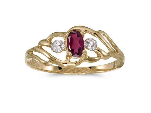 14k Yellow Gold Oval Rhodolite Garnet And Diamond Ring (Size 9)