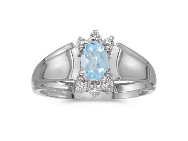 14k White Gold Oval Aquamarine And Diamond Ring (Size 6.5)
