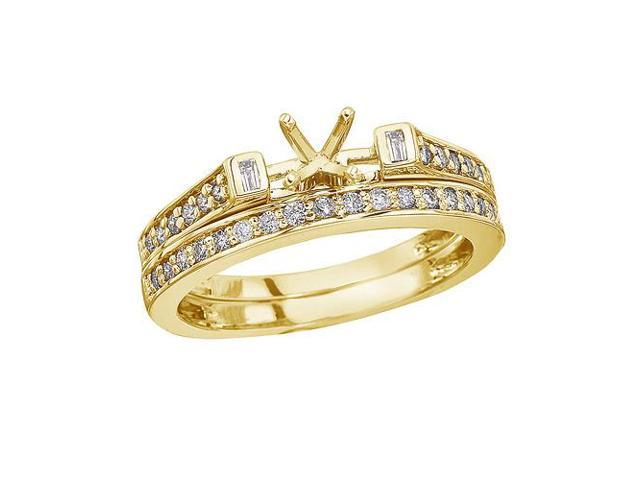 14K Yellow Gold Baguette Diamond Bridal Ring Set (Size 7)