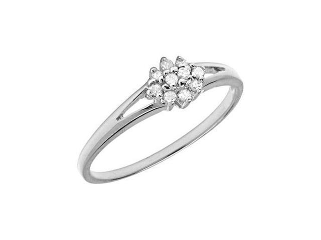 10K White Gold Diamond Cluster Ring (Size 5.5)
