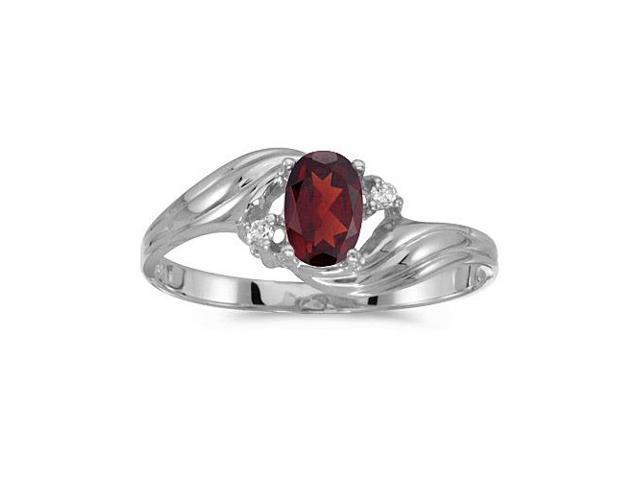 10k White Gold Oval Garnet And Diamond Ring (Size 10)