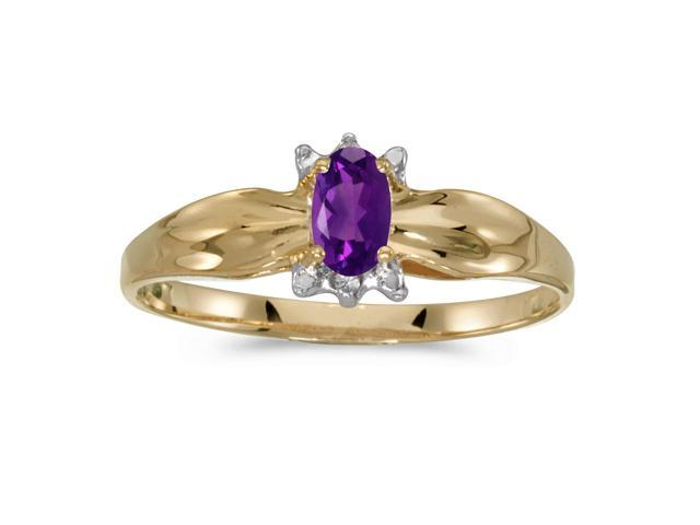 10k Yellow Gold Oval Amethyst And Diamond Ring (Size 9)