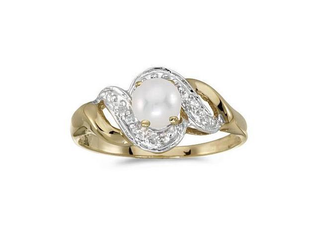 14k Yellow Gold Freshwater Cultured Pearl And Diamond Swirl Ring (Size 6)