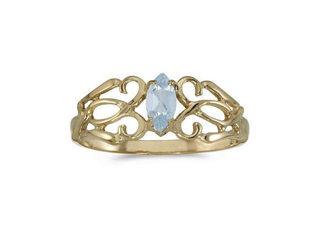 14k Yellow Gold Marquise Aquamarine Filagree Ring (Size 5)
