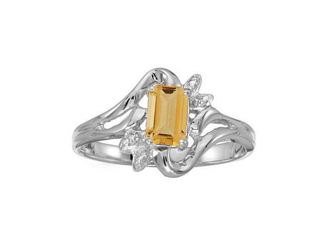 14k White Gold Emerald-cut Citrine And Diamond Ring (Size 5)