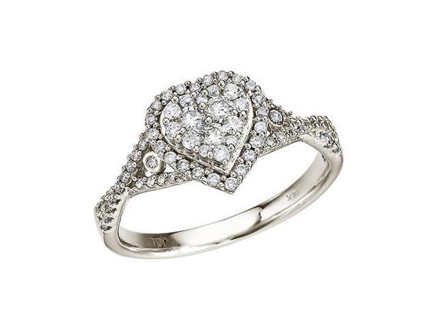 14K White Gold Diamond Clustaire Ring (Size 6)