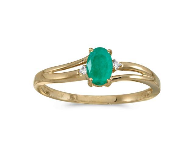 14k Yellow Gold Oval Emerald And Diamond Ring (Size 8)