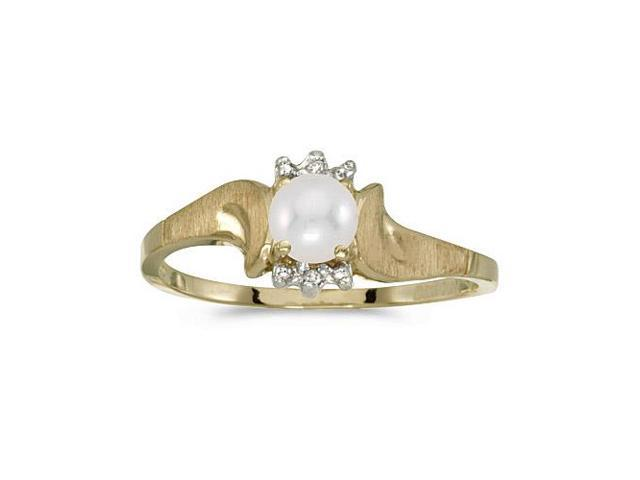 10k Yellow Gold Freshwater Cultured Pearl And Diamond Satin Finish Ring (Size 10.5)