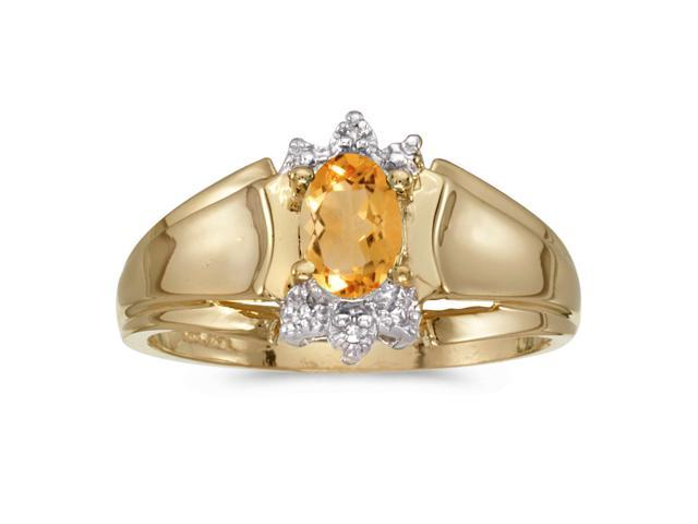 10k Yellow Gold Oval Citrine And Diamond Ring (Size 8.5)