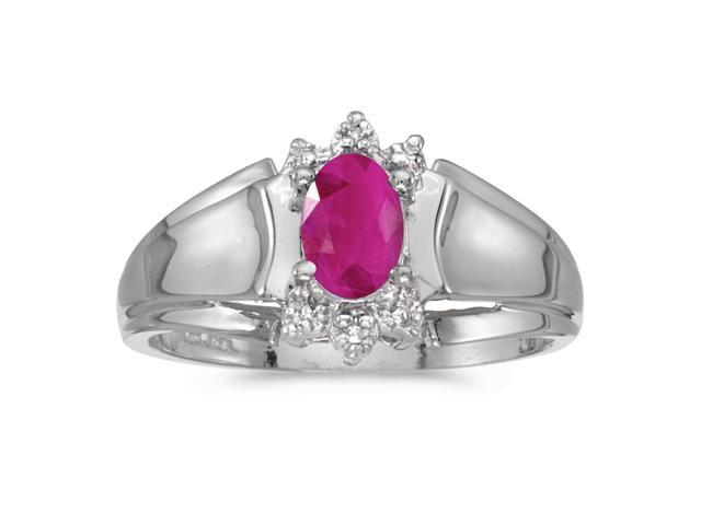 10k White Gold Oval Ruby And Diamond Ring (Size 7)