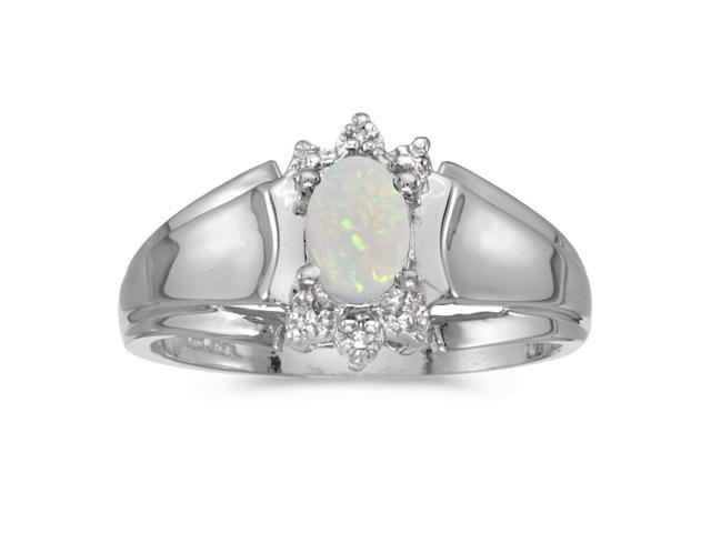 10k White Gold Oval Opal And Diamond Ring (Size 9)