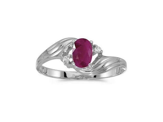 10k White Gold Oval Ruby And Diamond Ring (Size 6.5)