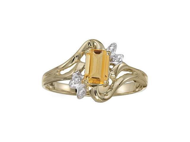 14k Yellow Gold Emerald-cut Citrine And Diamond Ring (Size 5)