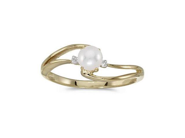 10k Yellow Gold Freshwater Cultured Pearl And Diamond Wave Ring (Size 5)