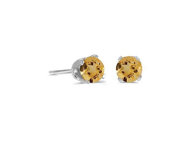 4 mm Round Citrine Screw-back Stud Earrings in 14k White Gold