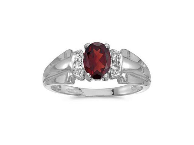 10k White Gold Oval Garnet And Diamond Ring (Size 6.5)