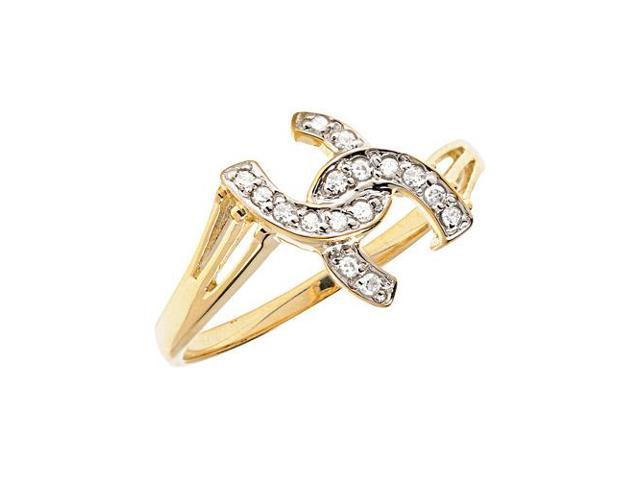 14K Yellow Gold Diamond Horseshoe Ring (Size 7.5)