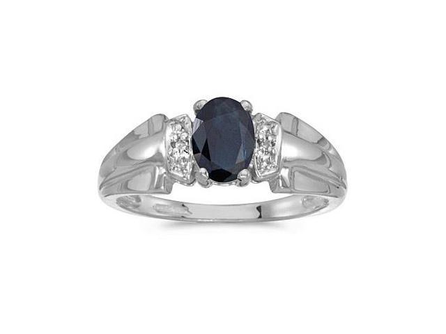 10k White Gold Oval Sapphire And Diamond Ring (Size 11)