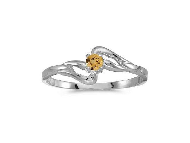 14k White Gold Round Citrine Ring (Size 8)