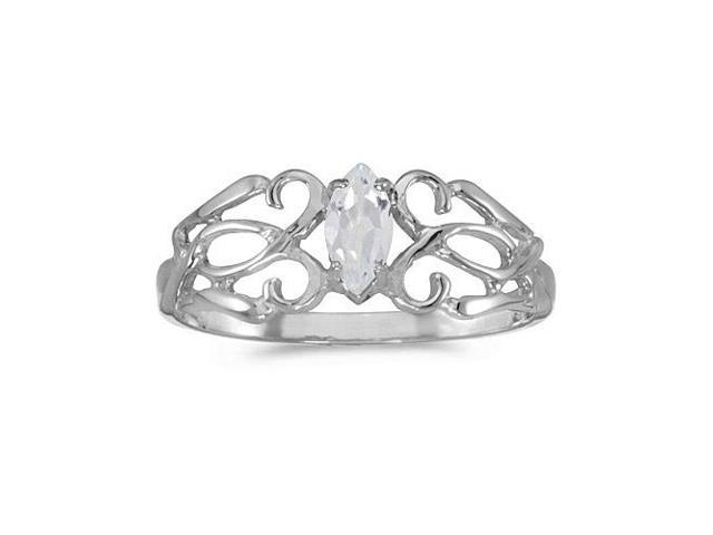 14k White Gold Marquise White Topaz Filagree Ring (Size 5.5)