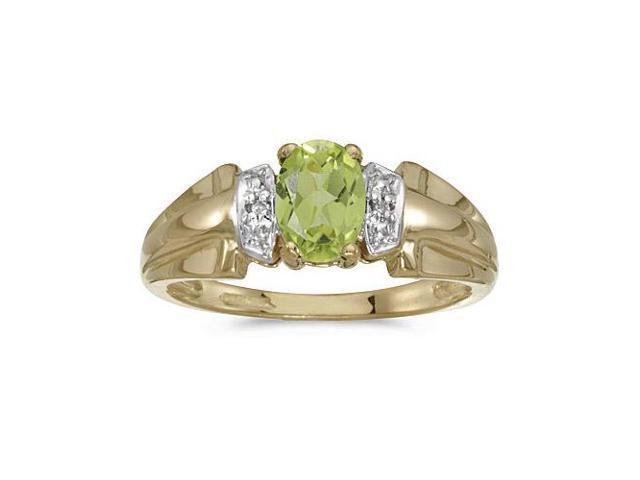 10k Yellow Gold Oval Peridot And Diamond Ring (Size 9.5)