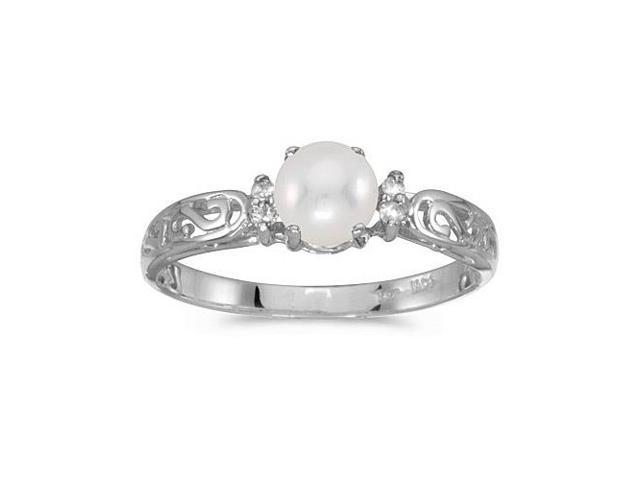 14k White Gold Freshwater Cultured Pearl And Diamond Filagree Ring (Size 10.5)