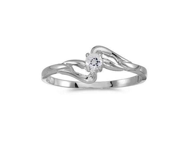14k White Gold Round White Topaz Ring (Size 7)