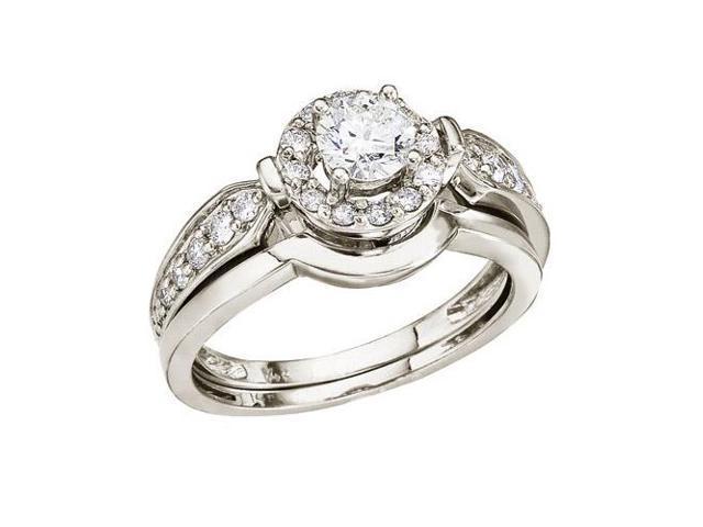 14K White Gold .75 Ct Round Diamond Band Bridal Ring Set (Size 9)
