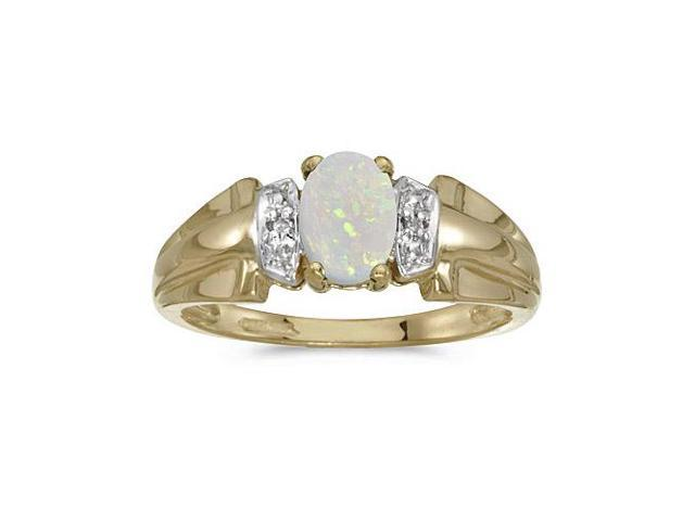 14k Yellow Gold Oval Opal And Diamond Ring (Size 11)