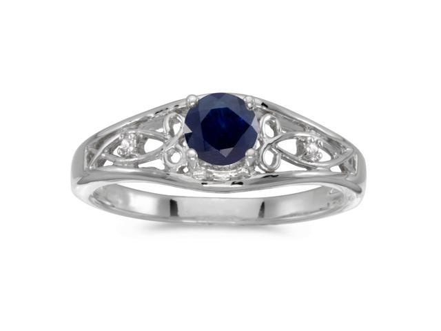14k White Gold Round Sapphire And Diamond Ring (Size 8.5)