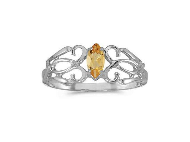 10k White Gold Marquise Citrine Filagree Ring (Size 6.5)