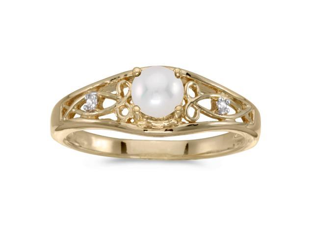 10k Yellow Gold Freshwater Cultured Pearl And Diamond Ring (Size 6)