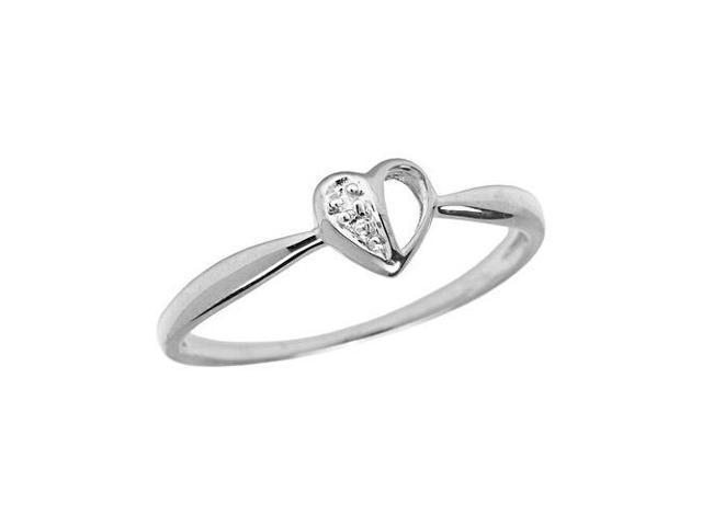 10K White Gold Diamond Heart Ring (Size 7)
