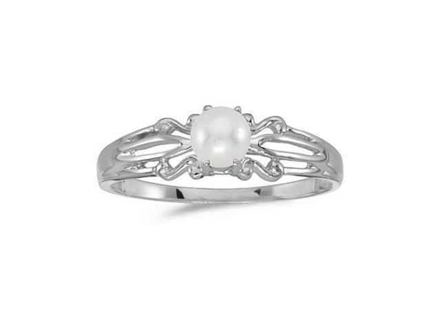 10k White Gold Freshwater Cultured Pearl Ring (Size 7)