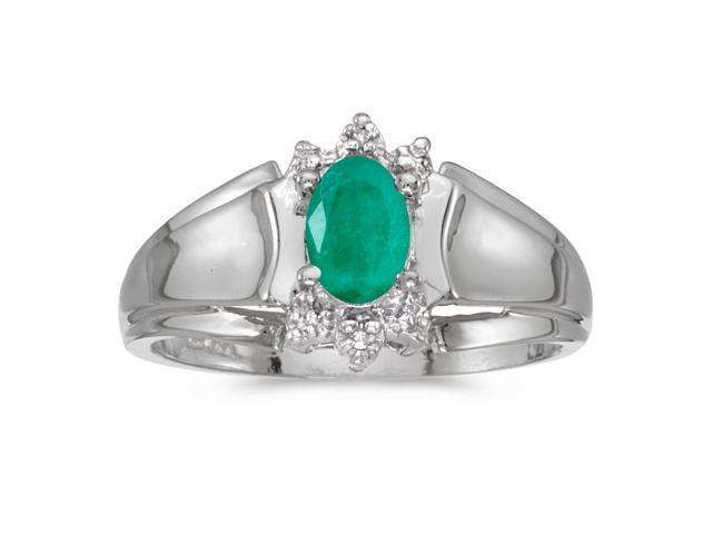 14k White Gold Oval Emerald And Diamond Ring (Size 7)