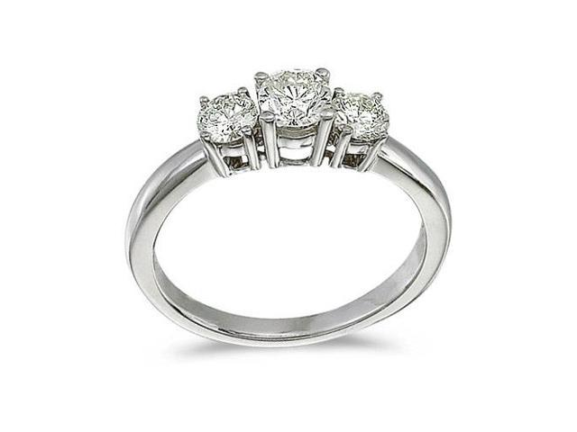 14k White Gold 0.75 Ct Three Stone Diamond Ring (Size 8.5)
