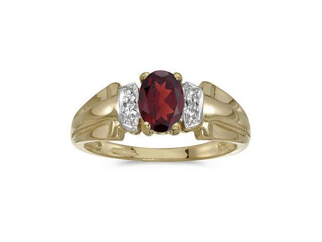14k Yellow Gold Oval Garnet And Diamond Ring (Size 8.5)