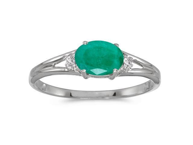 14k White Gold Oval Emerald And Diamond Ring (Size 5.5)