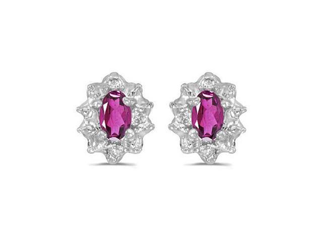 10k White Gold 5x3 mm Genuine Pink Topaz And Diamond Earrings