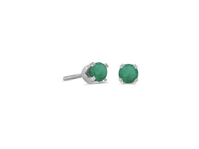 14k Petite White Gold Round Emerald Screw-back Stud Earrings