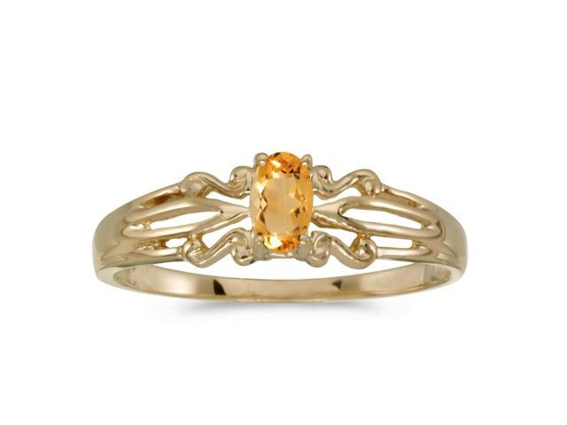 14k Yellow Gold Oval Citrine Ring (Size 5)