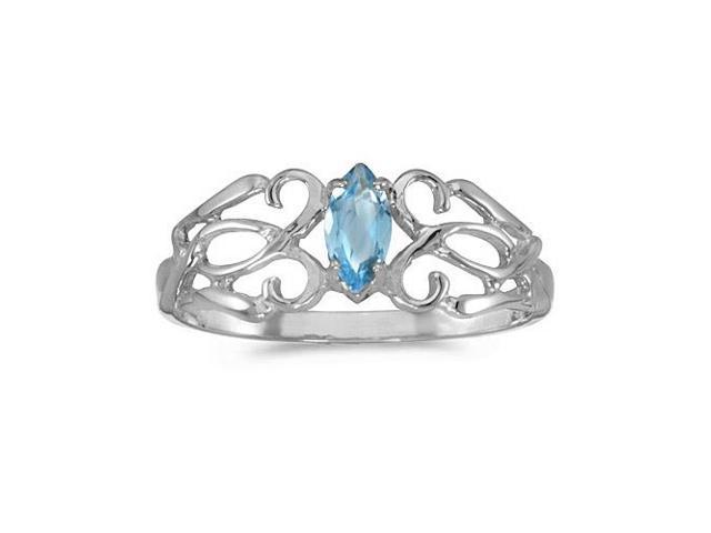 10k White Gold Marquise Blue Topaz Filagree Ring (Size 8)