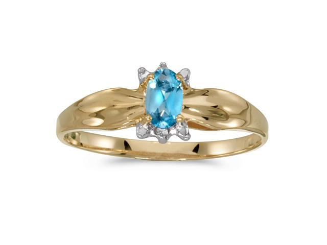 10k Yellow Gold Oval Blue Topaz And Diamond Ring (Size 8)